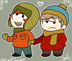 Kyle and Cartman by ziki-zai