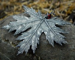 Dark Faerie Maple Leaf Pendant by QuintessentialArts