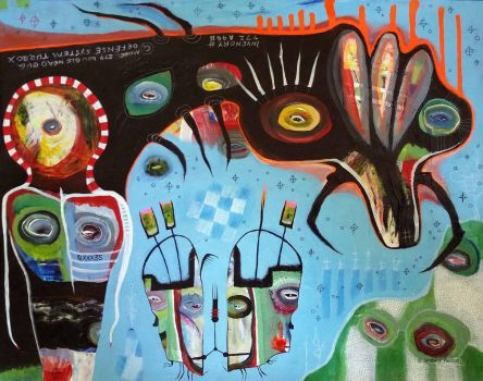 Outsider Art Painting: The  Contraption by bugatha1