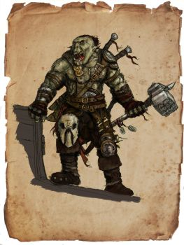 Pathfinder pirate orc by kickfoot