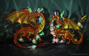 Lasair and Kindle at the Rave by DragonCid