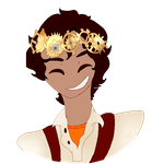 Gear(flower) crowned leo valdez by Art-goddess-not