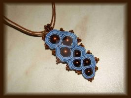 Blue and brown soutach pendant by jasmin7