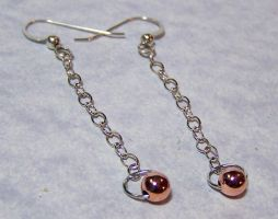 Silver and Copper Bead and Chain Earrings by SoundwarpSG-1