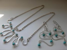 turquoise necklace and earring by irineja