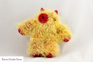 Hairy Red and Yellow Monster Doll by karenscrochetcorner