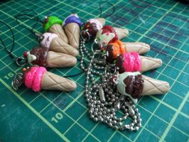 Ice Cream Phone and Keychain Charms by Vinnie14
