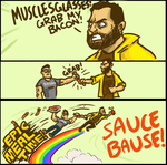 MUSCLESGLASSES GRAB MY BACON by micka-angelo