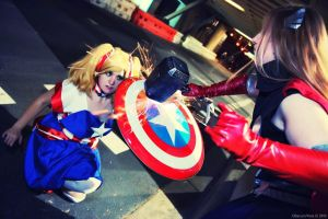Captain America vs Thor by AmericanNia