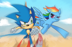Sonic vs Rainbowdash by StevenRayBrown