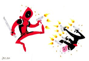 Deadpool vs Hit-Monkey by thesometimers