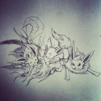Flareon X lil Leafeon X lil Eevee by 4444mayow