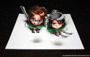 On the way to kill some titans! Hanji and Levi by InlineSpeedSkater