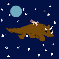zombaby in space on a dinosaur by Matter
