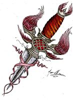 collored dagger tattoo design by JOVictory