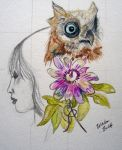 The Owl and the Passion flower by mightee-mouse