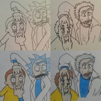Rick and Morty art trade  by ComiCWolf16