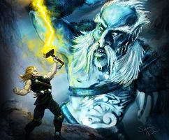 Thor vs the Frost Giant by superadaptoid