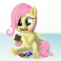 Fluttershy tasting chocolate by blueSpaceling