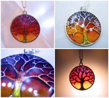 Sparkling Tree Twilight Sunrise Sunset Necklace by Tsurera