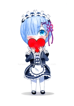 Chibi Sketch - Rem (Re:Zero) by Kanade-Chizuru