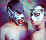 The Wolf and the Cat by androgenio