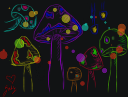 shroom of many colors by ChibiPandaMonster