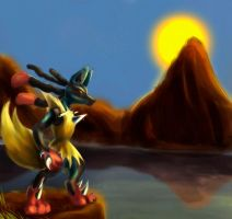 Mega Lucario waiting for his battle by Neon-Lady