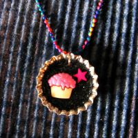 Bottle Cap Cupcake Necklace by SugarAndSpiceDIY