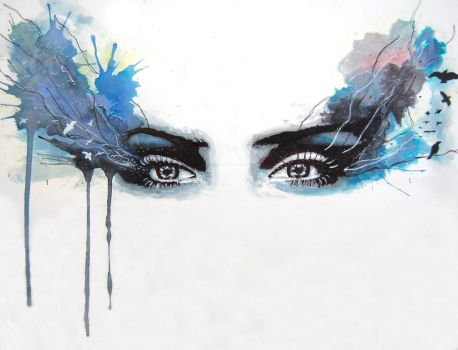 Watercolour eyes - 'when eyes had Tales' by StuartShields