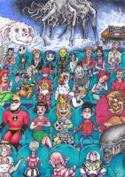 30 years of cinema (birthday drawing) by Zwerg-im-Bikini