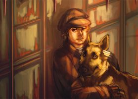 boy and german shepherd by kou-chann
