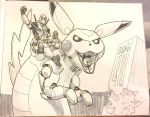 Deadpool on a giant mecha Pikachu by chukw