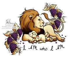 I Am Who I Am Lion and Lamb Tattoo Design by HeatherHitchman