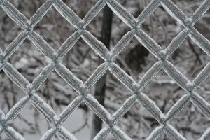 Chain link fence, iced over by kwpatrick