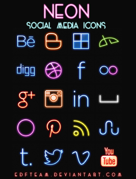 +Social Iconos Neon. by EDFTeam