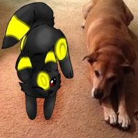 Gift for aeroslash ! - Umbreon and...dog by HesperCambrie