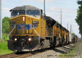 UP 6877 and 3 UP SD9043MACs lead CSXT Q686 21 by EternalFlame1891