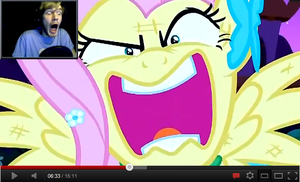 Pewdie Is Afraid Of Fluttershy by calming-thoughts