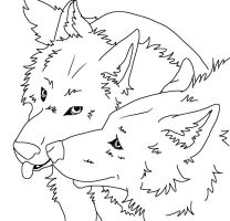 Free lineart Wolf Couple by JewlzDecgan4ever