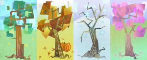 Cubism Seasons by abaikgirl