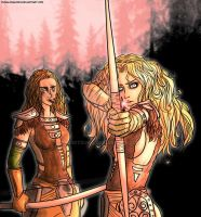 Aela The Huntress and Imandra by DunaLonghorn