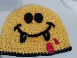 Vampire Smiley Face Beanie Crochet  Hat by crafterchick