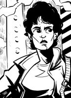 Ripley b/w sketch by klaatu81