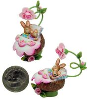 Tiny MOUSE BUNNY RABBIT FAIRY BLOSSOM BED by WEE-OOAK-MINIATURES