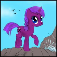 Commission - The pony on the cliff by FuriarossaAndMimma