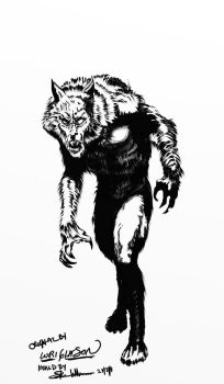 Wrightson Inking Wolfie1 by NavajoBirdsong