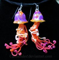 Magenta jellyfish earrings by carmendee