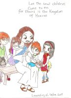 Jesus and the small children by HeavensEngel