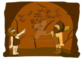 Cavemen and their paintings by stormthor